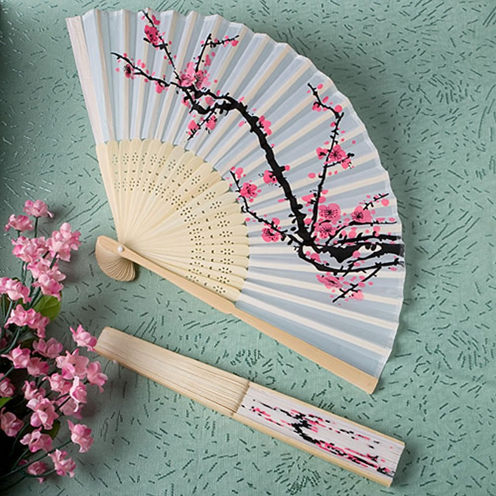 Buy Cherry Blossom Design Silk Folding Fan Wedding Favors 70 In