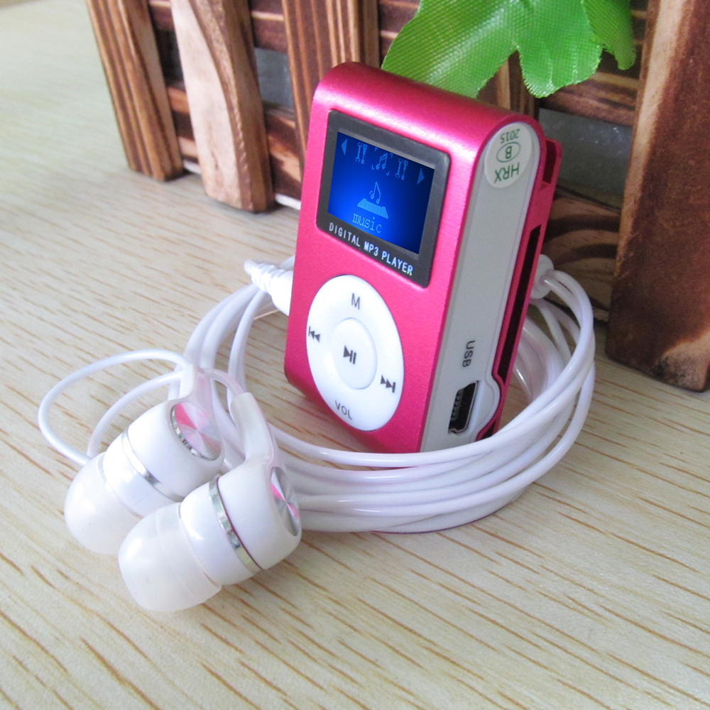 2015 New LCD Screen Metal Mini Clip MP3 Player with Micro TF SD Slot with Earphone