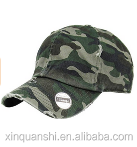6 panels Vintage camo Washed Distressed Cotton Dad Hat Baseball Cap Polo Style camo baseball cap