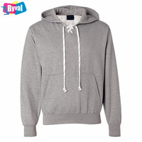 Wholesale Men Custom Cotton Printing Drawstring Lace Up Hockey Hoody