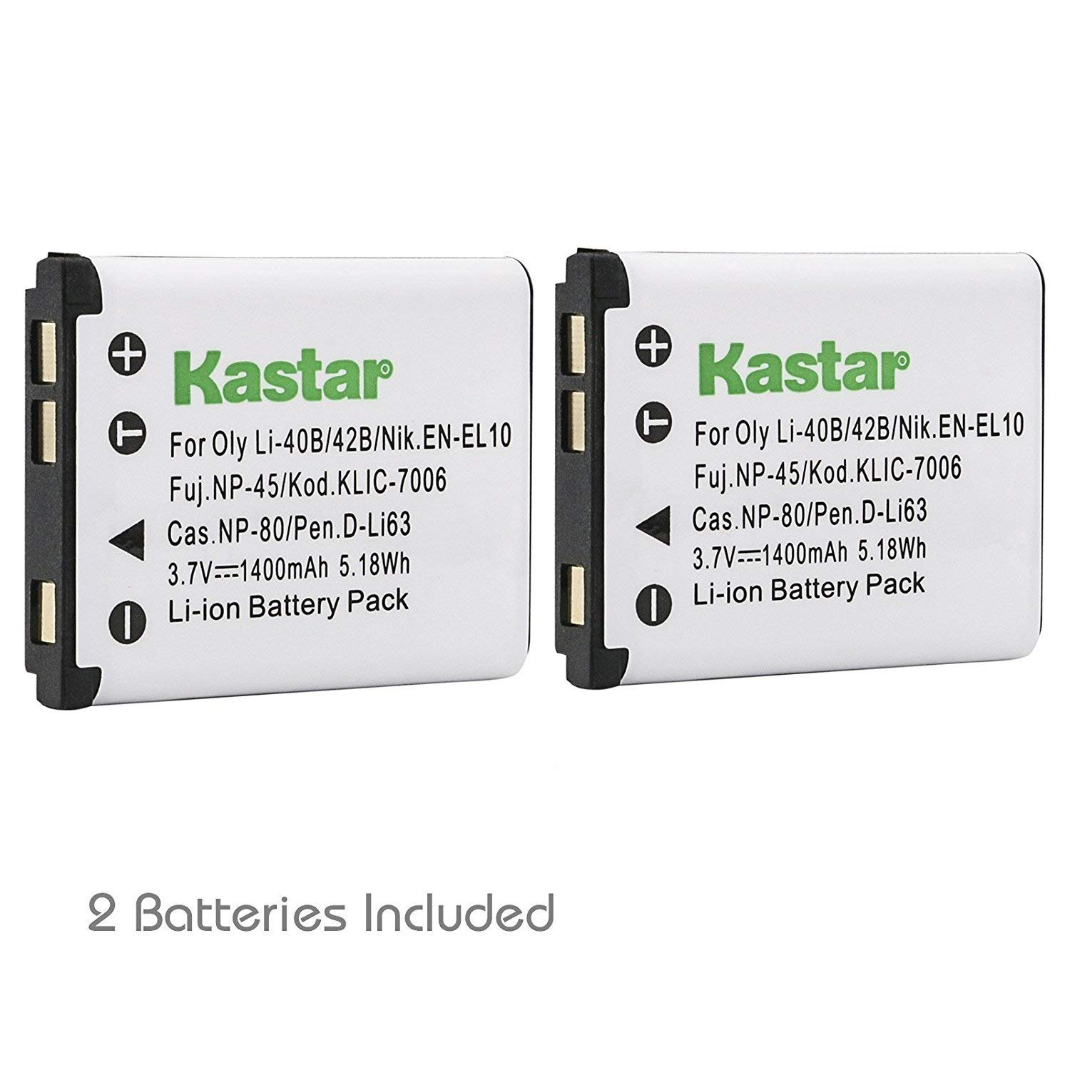 Kastar 2 Pack Battery for Fujifilm NP-45 NP-45A NP-45B and Fuji FinePix J10 J12 J15 J15fd J20 J25 J26 J27 J30 J35 J38 J40 J100 J110W J120 J150W J210 J250 JV100 JV105 JV150 JV155 JV160 JV200JX205 JX250
