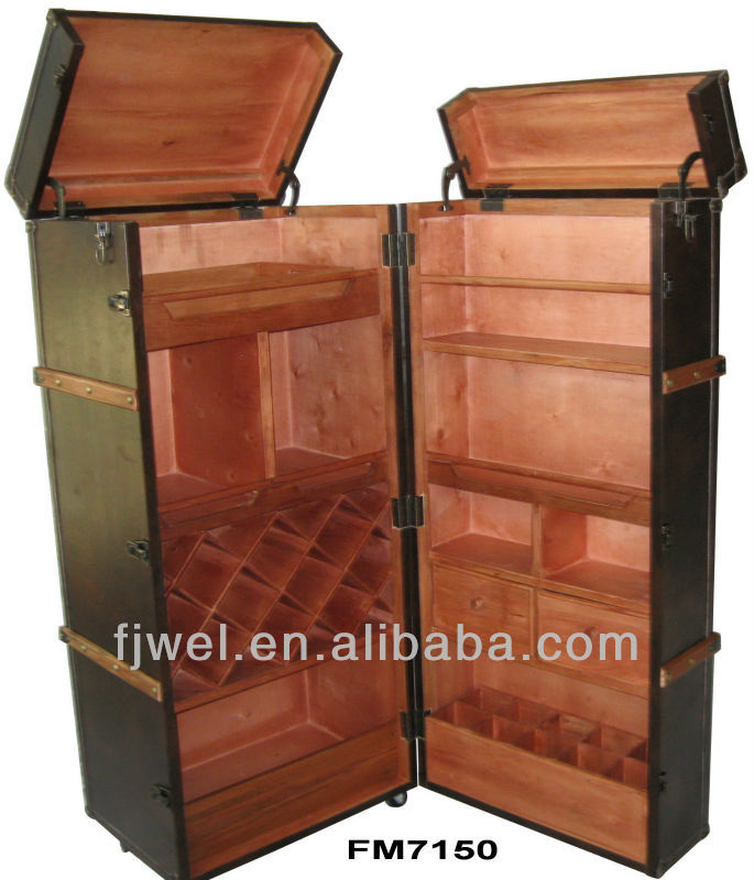 Pu Leather Wine Cabinet Trunk Bar - Buy Steamer Trunk Bar,Wine Bar ...