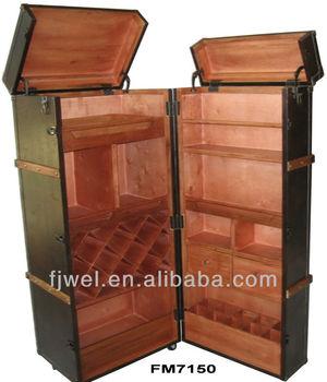 Pu Leather Wine Cabinet Trunk Bar