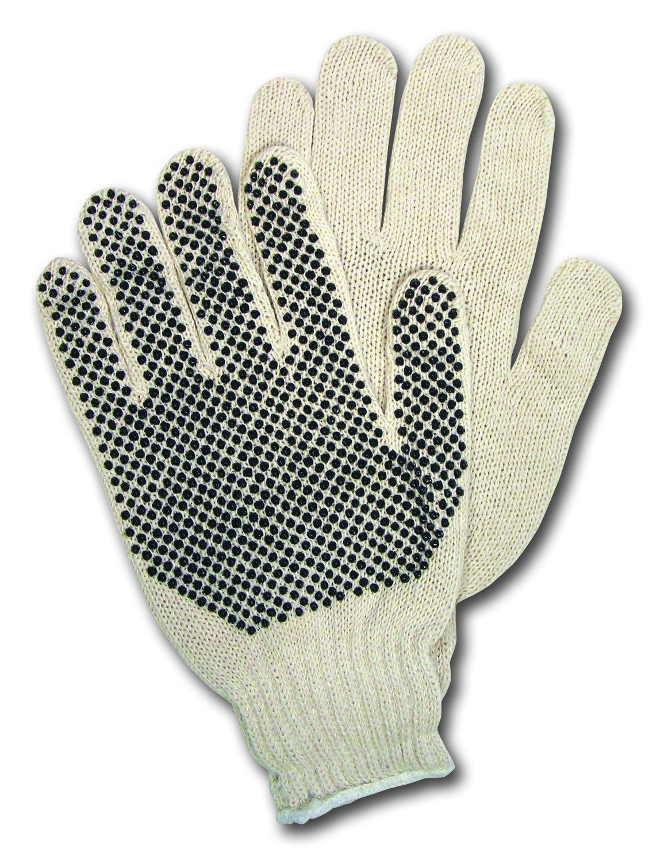 MCR Safety 9650M Memphis Cotton/Polyester 7 Gauge String Knitted Multi-Purpose Men's Gloves, Natural, Medium, 1-Pair