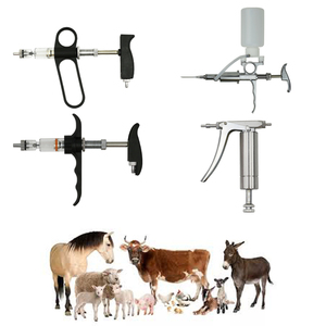 Automatic adjustable veterinary glass stainless steel syringe cattle injection gun for livestock poultry farm