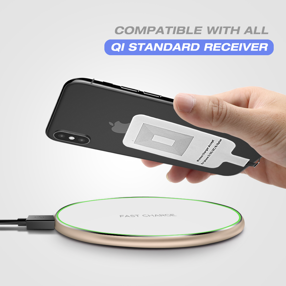 Behenda 2019 New Wireless Charger with Customized  LED Logo OEM QI wireless fast charger for Iphone X 8 7 mobile phones