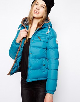 Women Padded Jacket With Fairisle Hood Buy Women Hooded Leather