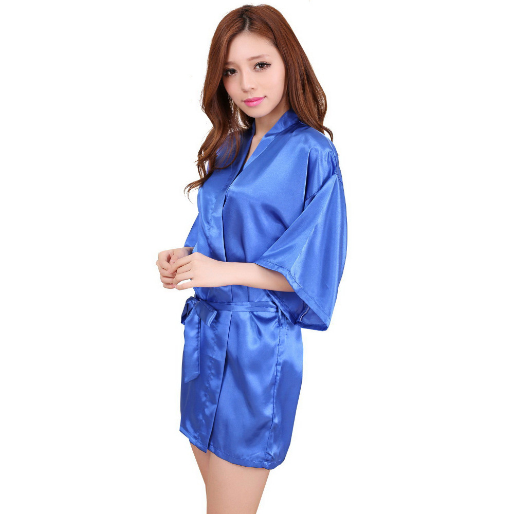 Silk Dressing Gowns Ladies: Ladies Womens Solid Plain Rayon Silk Short Robe Pajama