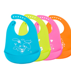 Factory cute one size adjustable Blue Pink Orange Green waterproof silicone baby bib