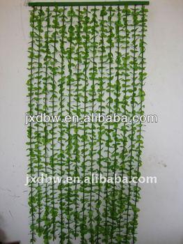 Plastic Leaf Green Bamboo Bead Door Curtain