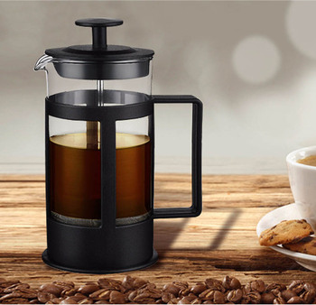 Custom Black Borosilicate Glass Carafe Stainless Steel Filter Coffee Maker French Press