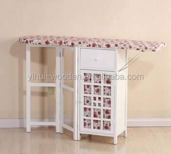 Home Furniture Clothes Wood Ironing Table Wooden Board In Cabinet With Multi Wicker Drawer