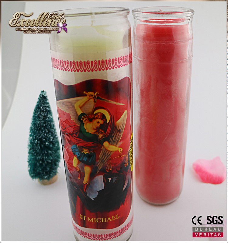 7 days burning time church candle/8 inches religious candle/multi color church candle in glass bottle wholesale