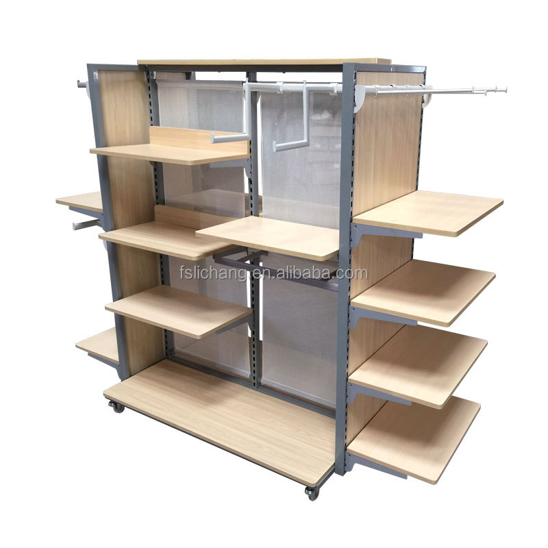 Retail Clothing Furniture Movable Shelf Wooden And Iron Product On Alibaba