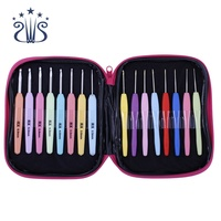 16pcs 1-6mm Multi Colour Crochet Hook Yarn Aluminum Knitting Needles Set Kit with Case Hand Sewing Tools