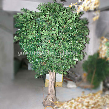 Artificial Ficus Tree Outdoor Large Green Leaf Plants 10ft High For Hotel Restaurant Garden Decoration