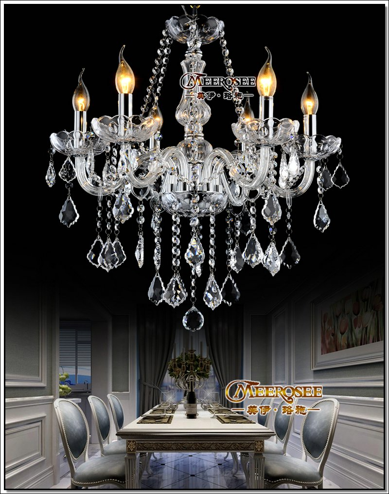 MEEROSEE Old Crystals Chandeliers Lighting Fixture Champagne Glass Pendant Lamp For Living Room 220V MDS801 L6
