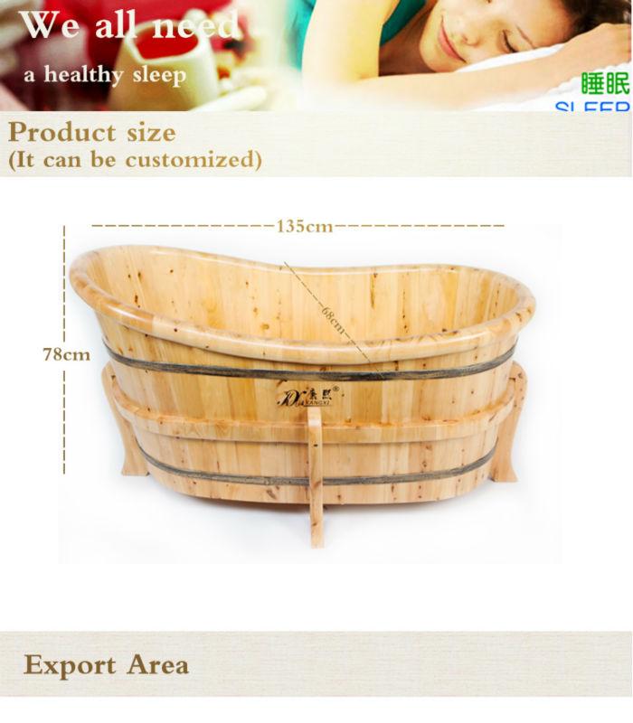Kx Spa Deep Soaking Tub Wood Folding Portable Bathtub