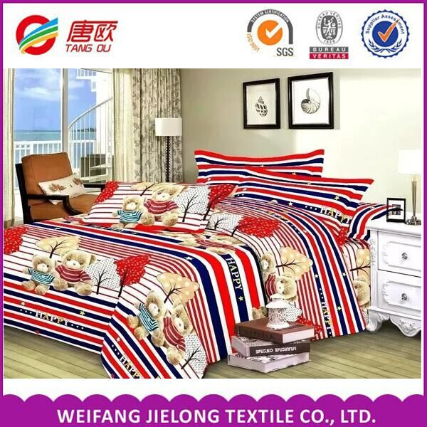 100% Polyester fabric with disperse printed queen size in bedding set