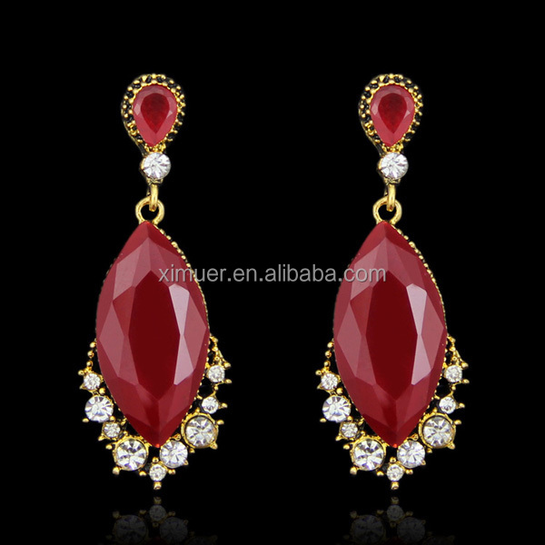 2015 wholesale Latest red gemestone drop earring