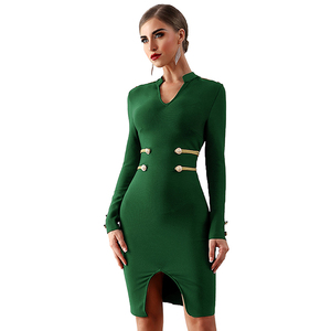 Lover-Beauty New Design Women Sexy Club V Neck Long Sleeve Metal Button Back Zipper Bandage Mini Dresses