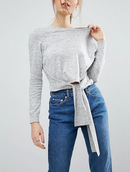 Relaxed Crew Neckline Cropped Jumper With Tie Front In Grey