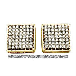 Square Earrings Design For Women Diamond Dangle Multiple Diamonds Studded Gold Earring Studs