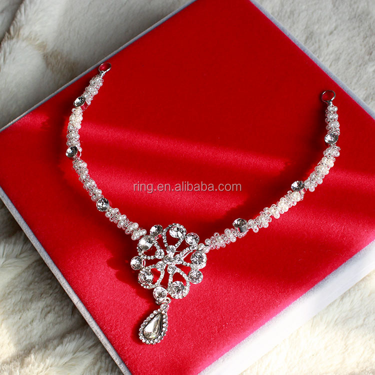 Crystal Forehead Piece Frontlet Head Pearl Chain Hair Band Tiara Bridal Wedding Jewel