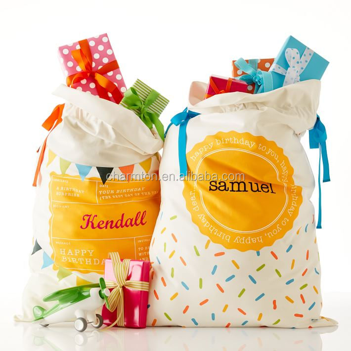 Wholesale Hot Personalized Monogrammed Birthday present sacks