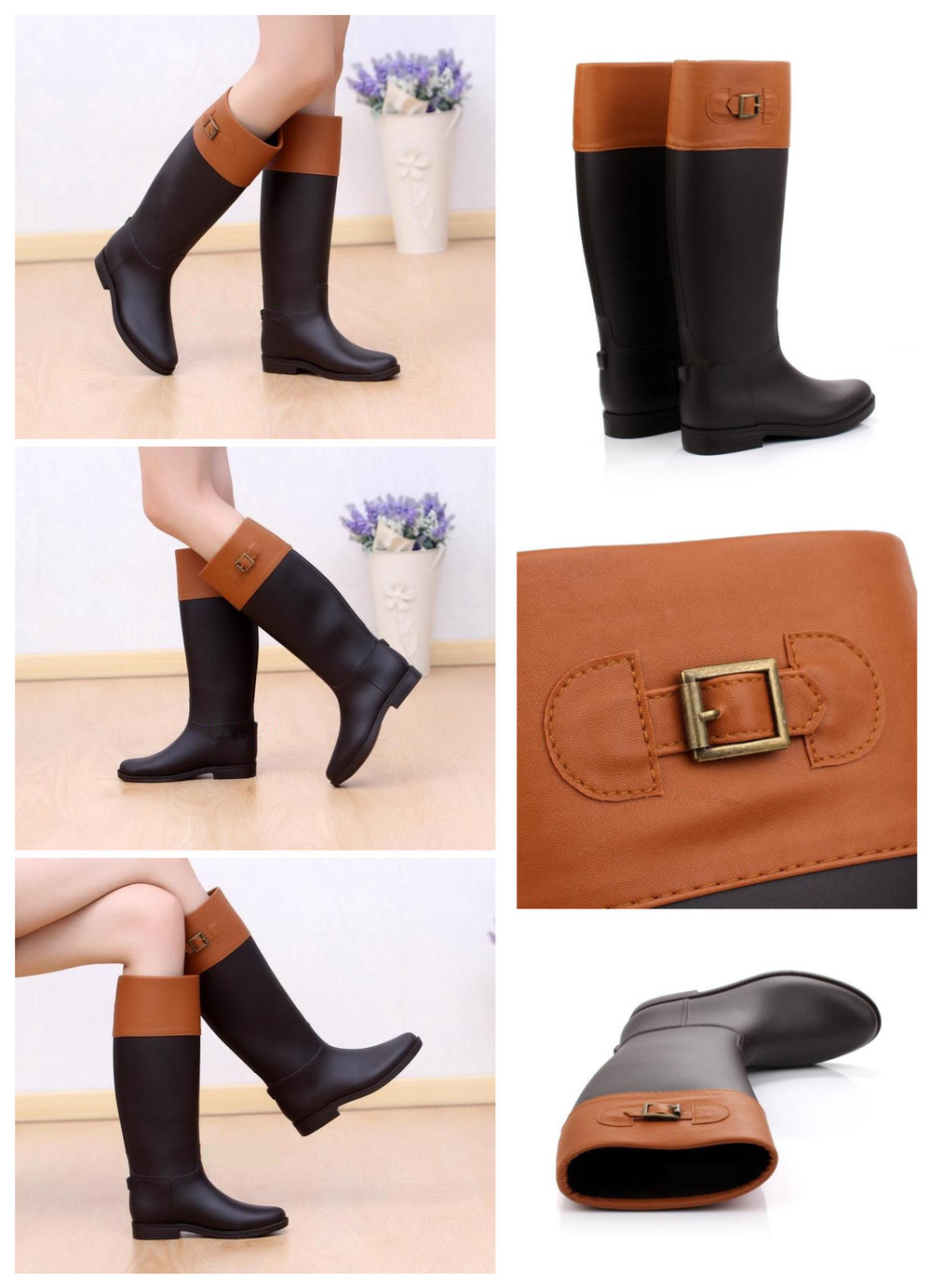 water proof gumboots High quality galoshes fashion pvc rain boots ladies