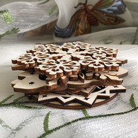 holiday ornaments wood coaster cup pad tea placemat
