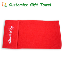 Good Quality Red Cotton Cooling Sport Towel With Pocket