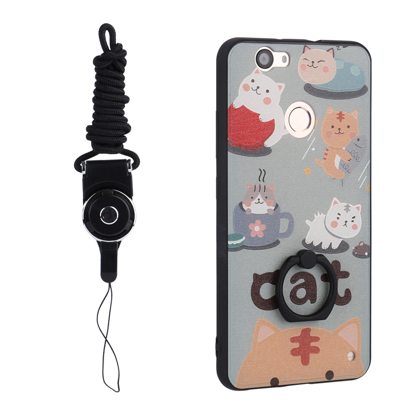 Lovely Cats Painting Relief Cell Phone Case Tpu Phone Protective Case With Rings Holder For Huawei Nova