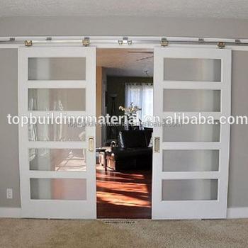 White Frosted Glass Insert Wooden Sliding Barn Doors Buy