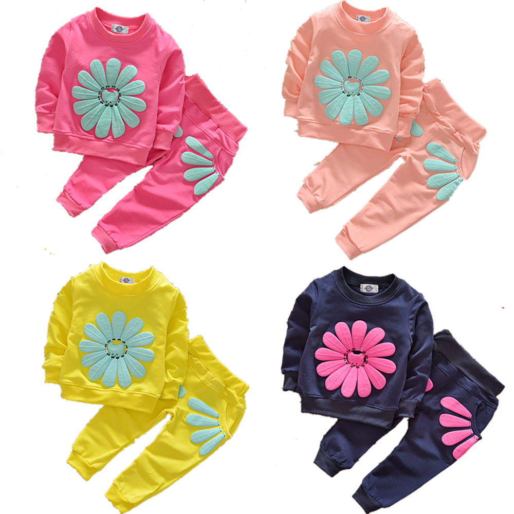 Fashion Spring Autumn Long Sleeve Girls Suit Big Flower Printed Kids Clothing Set 2pcs T-shirt and Long Pants Suit