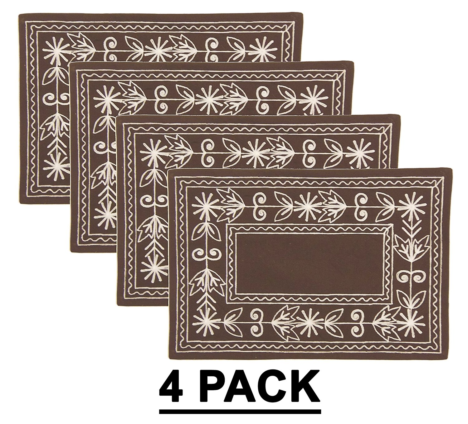 Cotton Craft - Cotton Crewel Embroidery Placemat (Set of 4) - Chocolate - 13x19 Inches - Heavy Duty 100% Cotton Canvas fabric - These beautifully textured and hand crafted table linens are lovingly hand embroidered by skilled artisans - Easy Care Machine Wash