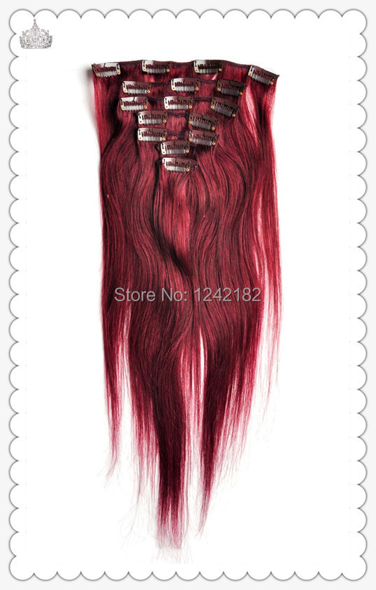 Buy 99j Red Wine Clip In Hair Extensions 7pcs Indian Virgin Human