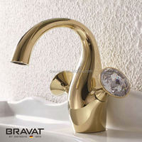 Hot sell deck mounted double handle noble gold bathroom sink faucet F14287G