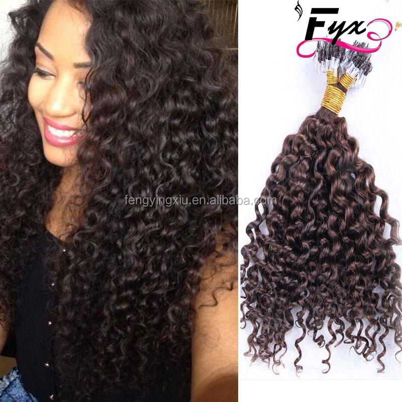 Micro Loop Ring Hair Extensions Kinky Curly Micro Loop Human Hair