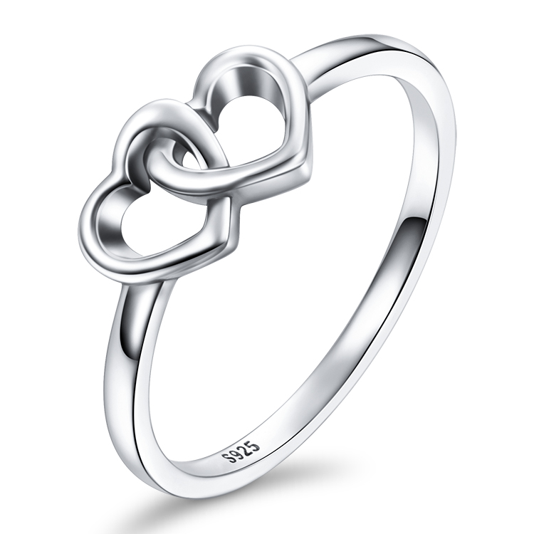 Oxidized 925 Sterling Silver Heart To Heart Shape Ring Designs For ...
