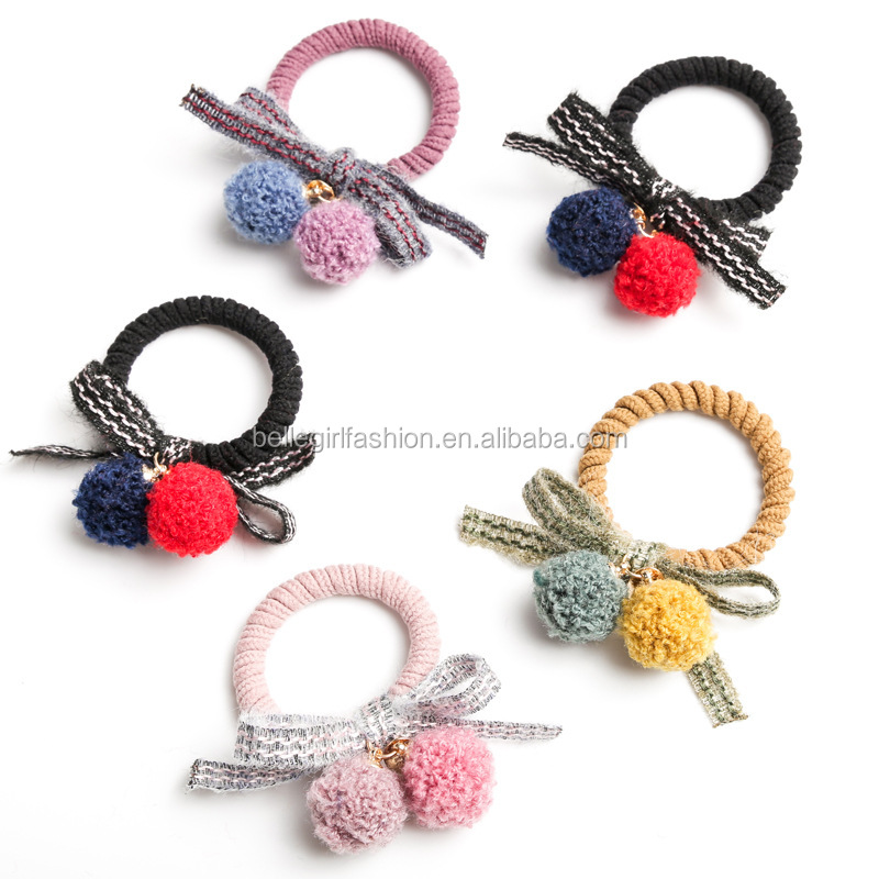 Wholesale fashionable winter bowknot fur balls hair bands accessories