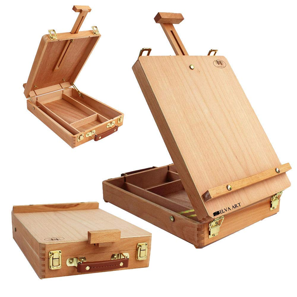 Selva Artisan Choice Wooden French Tripod Easel Portable Folding Artist Sketch Table Box - Paint Tool for Beginner Professional Painter | Easy Adjustment Divided Interior 4 Compartments - Beech Wood