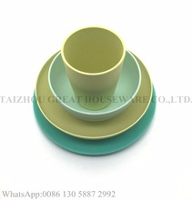 Custom design and color Great bamboo fiber tableware eco friendly 4pcs dinnerware sets
