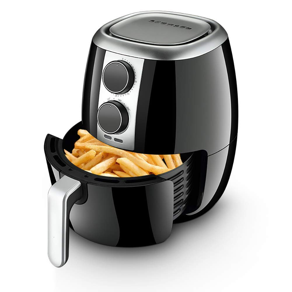 New air fryer, 1400W household intelligent electric fryer, 4.5L large capacity fries machine, black,Containing Recipes,Healthy Cookware Food Oven (Size : 4.5L)