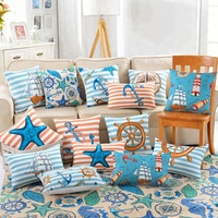 Kids Room Decoration Cotton Linen Comfortable Mediterranean Style Cartoon Marine Printed Sofa Cushion Cover Pillow Case 45x45cm