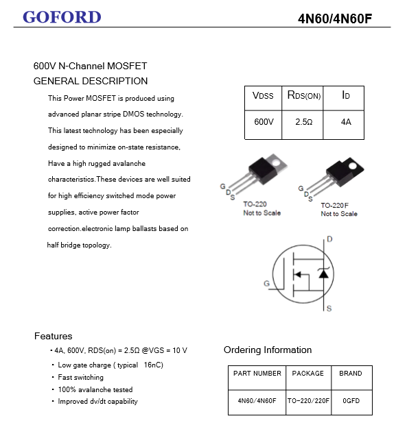 4n60 Fast Switching Inverter Circuit Mosfet 4a 600v Power Mosfet - Buy  Power Mosfet,600v Power Mosfet,Inverter Circuit Mosfet Product on  Alibaba com
