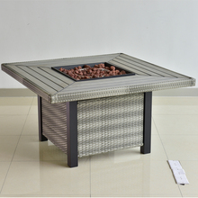2017 American style square Wicker Table garden Furniture & BBQ Aluminum fire pit for outdoor