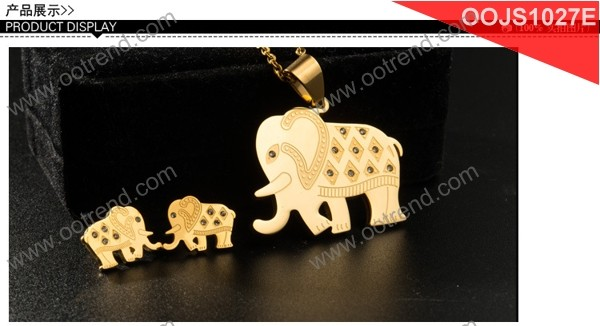 premier jewelry set Elephant Design 18K gold plated charms and earrinigs