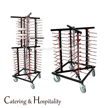 Stainless Steel Restaurant Kitchen Mobile Plate RackTrolley Cart For Fast  Transport 40/80 Dinner Plates