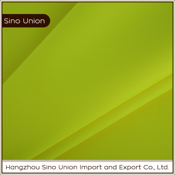 China supplier 300D fluorescent yellow reflctive cloth for vest 100 polyester PU coating fabric